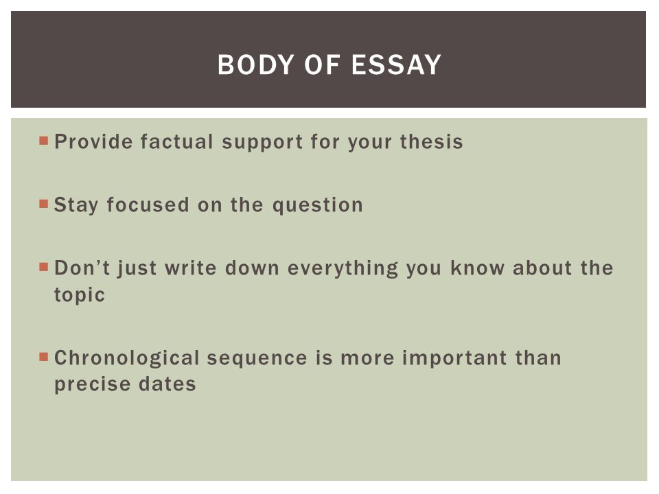 Body of Essay Provide factual support for your thesis