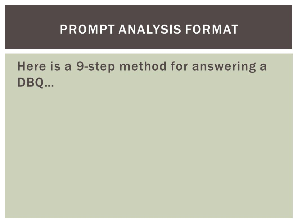 Prompt analysis format