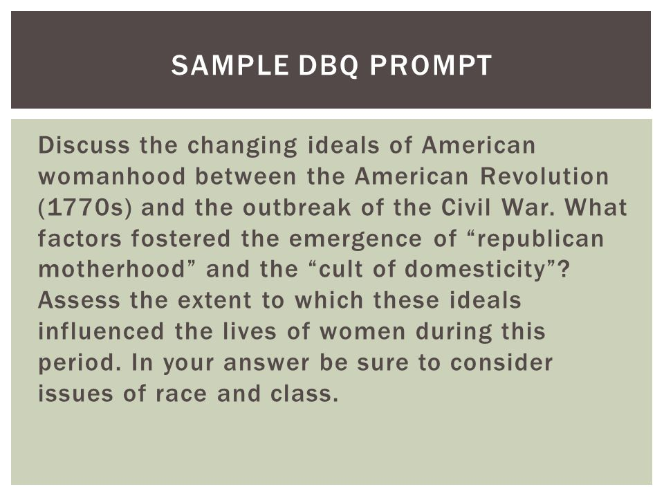 Sample DBQ Prompt