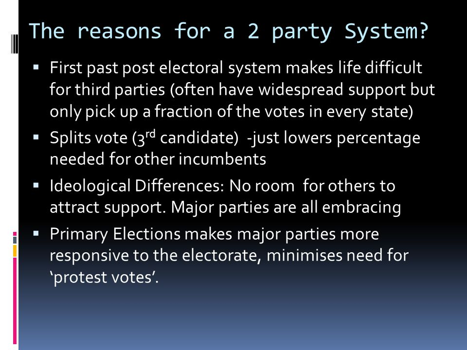 The reasons for a 2 party System