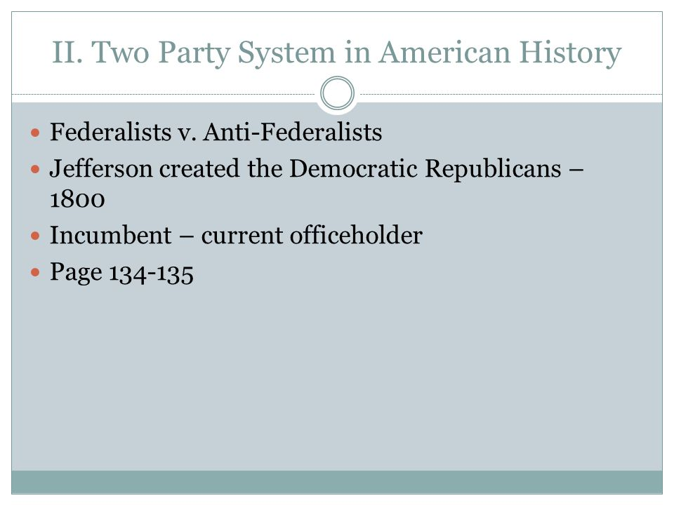 II. Two Party System in American History