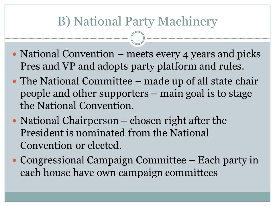 B) National Party Machinery