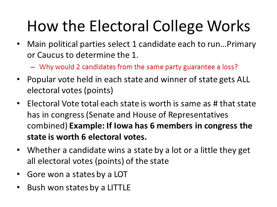 briefly summarize how the electoral college works Presidential leadership and the electoral college americans expect their presidents to get things done, to solve problems, to govern effectively, and to be strong leaders.