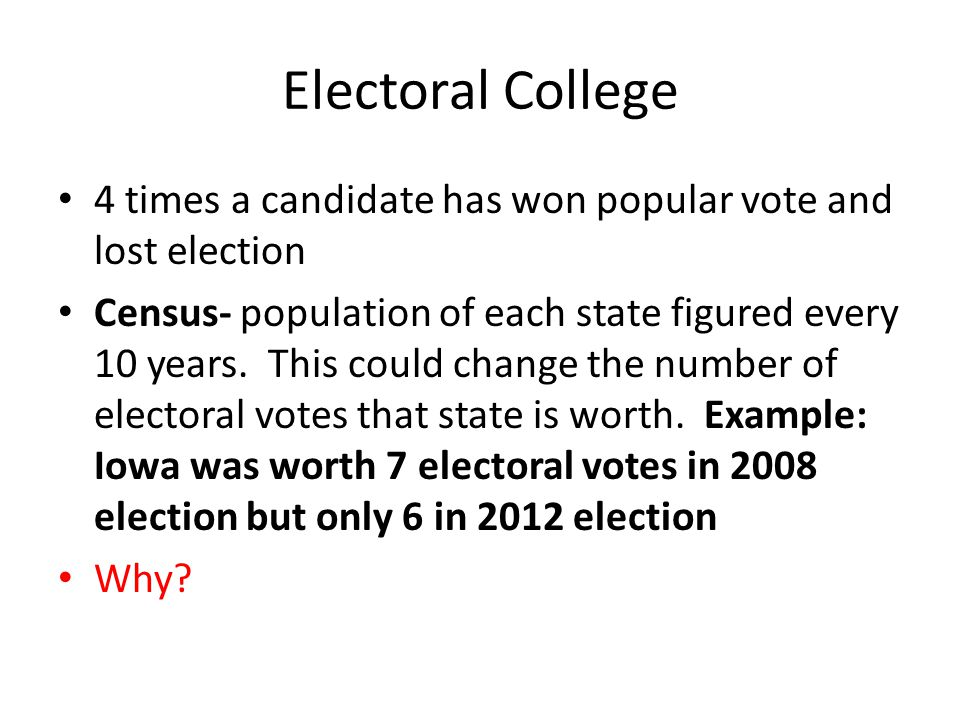 Electoral College 4 times a candidate has won popular vote and lost election.