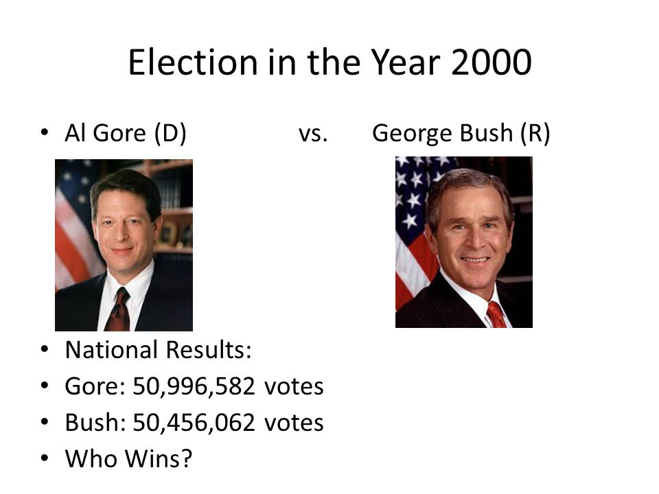 Election in the Year 2000 Al Gore (D) vs. George Bush (R)