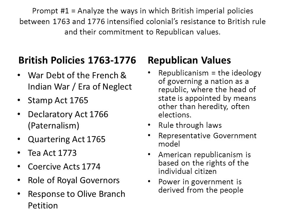 "british imperial policies and colonial resistance essay Key concept 23, ii ""britain's desire to maintain a viable north american empire in the face of growing internal challenges and external competition inspired efforts to strengthen its imperial control, stimulating increasing resistance from colonists who had grown accustomed to a large measure of autonomy."