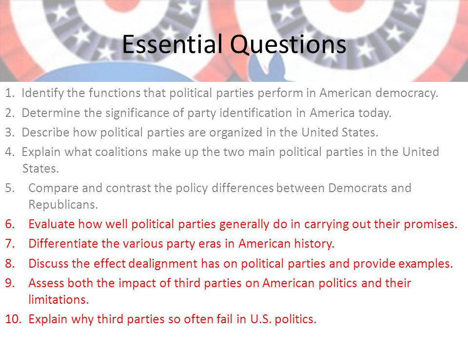 assess the importance of ideological differences Reviewing the chapter chapter focus describe the evolution of journalism in american political history, and describe the differences between the party press and the mass media of today ideological labeling might influence readers b.