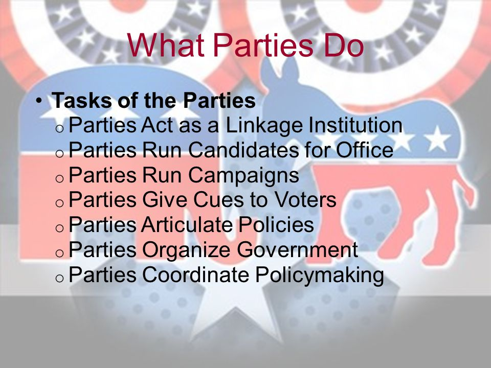 What Parties Do Tasks of the Parties