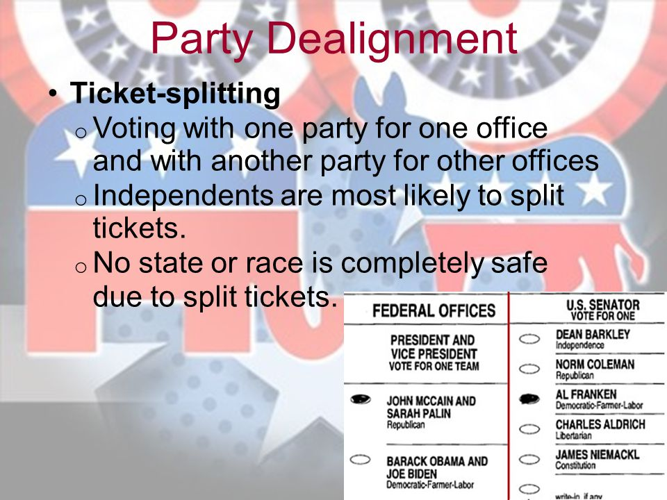 Party Dealignment Ticket-splitting