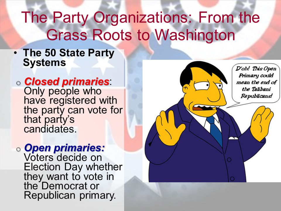 The Party Organizations: From the Grass Roots to Washington
