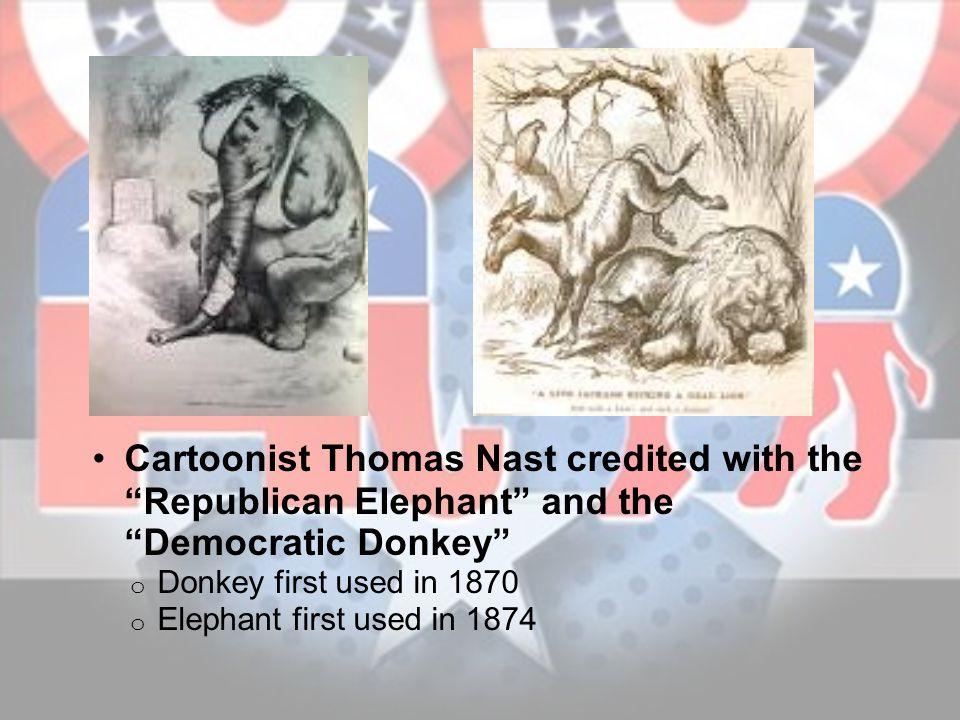 Cartoonist Thomas Nast credited with the Republican Elephant and the Democratic Donkey