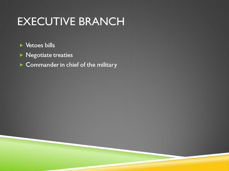 Executive Branch Vetoes bills Negotiate treaties