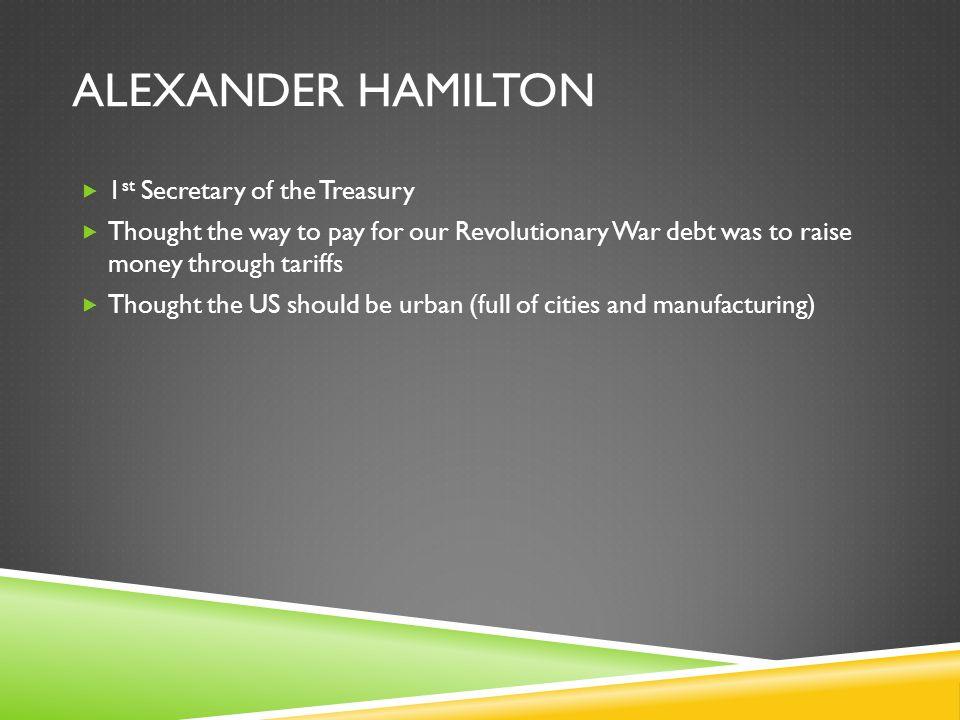 Alexander Hamilton 1st Secretary of the Treasury