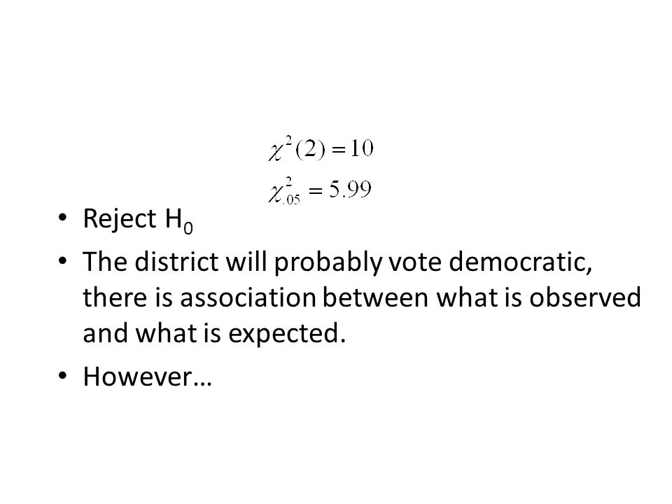 Reject H0 The district will probably vote democratic, there is association between what is observed and what is expected.