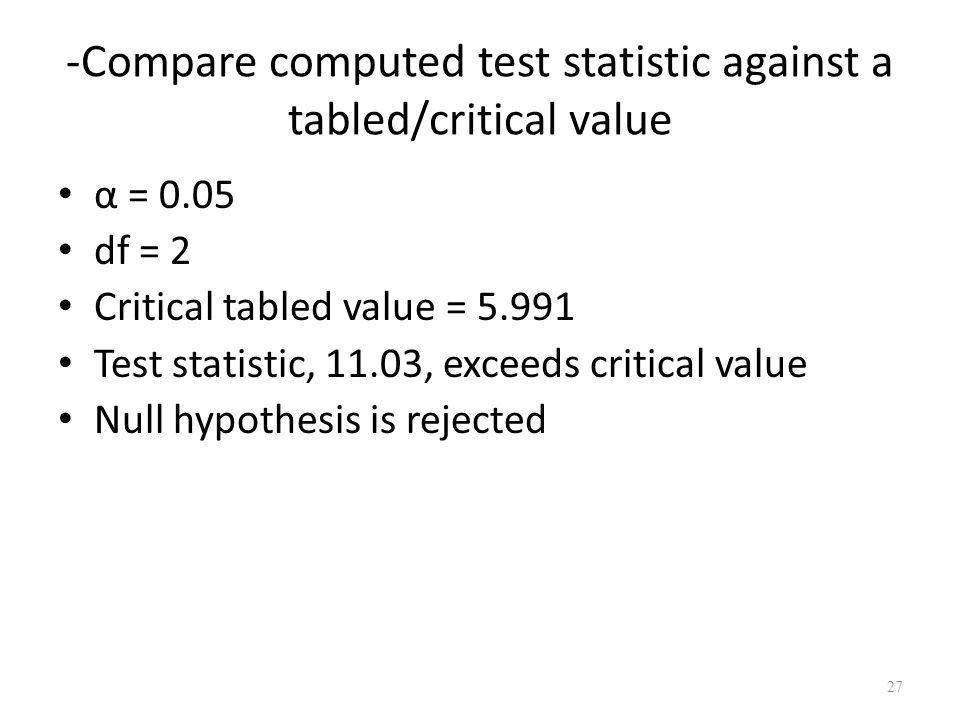 -Compare computed test statistic against a tabled/critical value