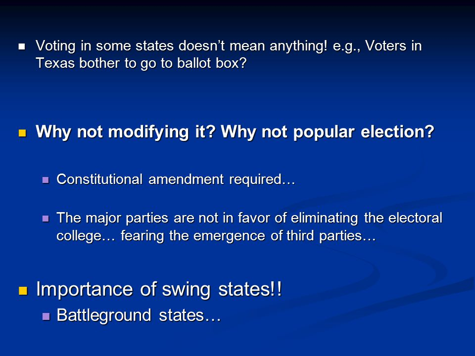 Importance of swing states!!