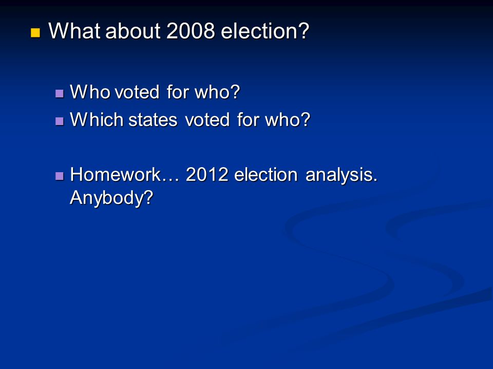 What about 2008 election Who voted for who