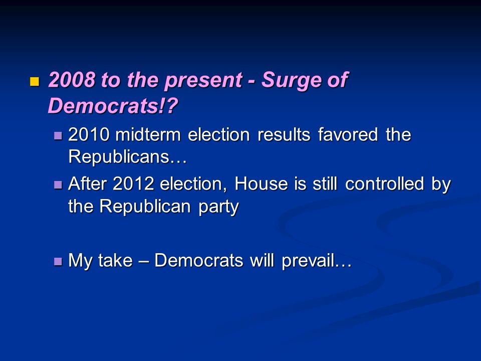 2008 to the present - Surge of Democrats!