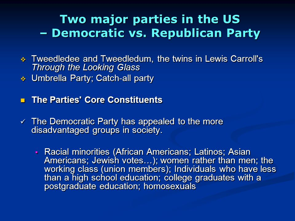 Two major parties in the US – Democratic vs. Republican Party
