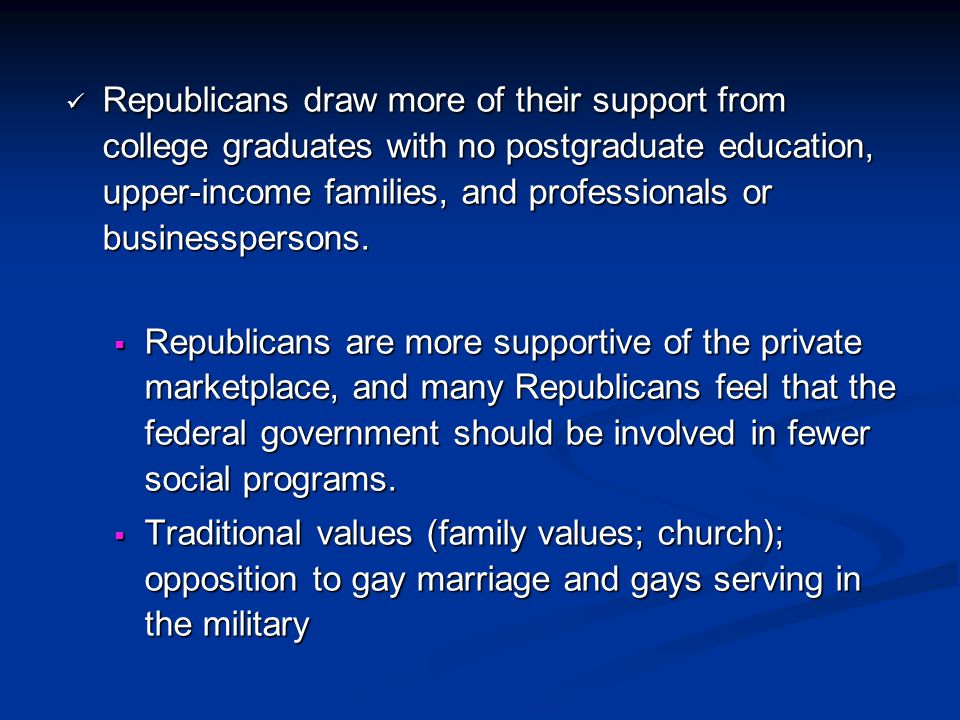 Republicans draw more of their support from college graduates with no postgraduate education, upper-income families, and professionals or businesspersons.