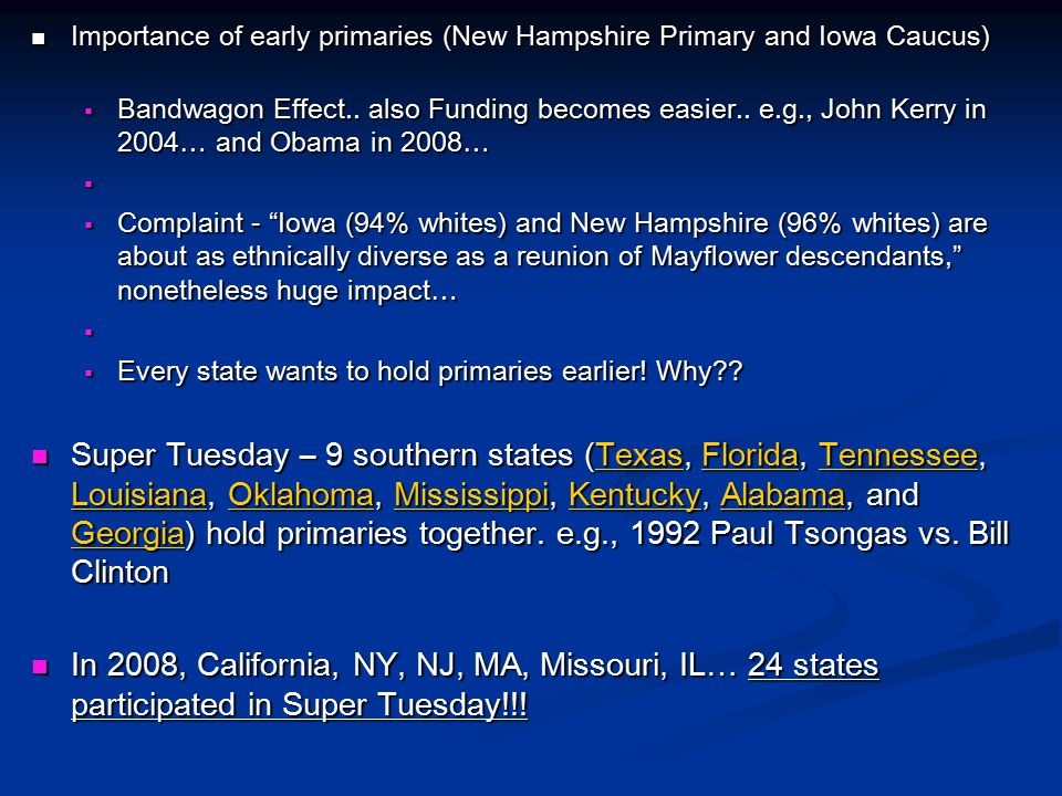 Importance of early primaries (New Hampshire Primary and Iowa Caucus)
