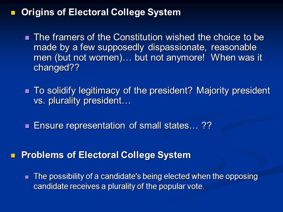 Origins of Electoral College System