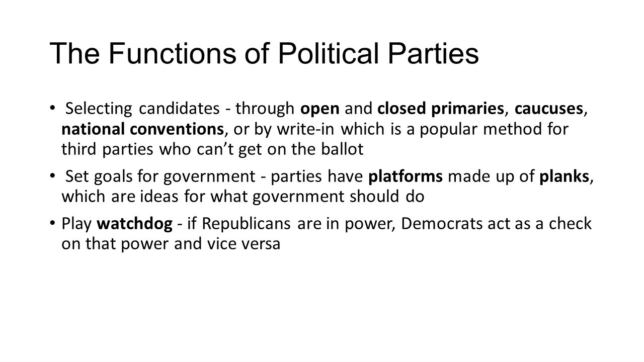 The Functions of Political Parties