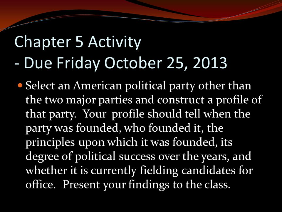 Chapter 5 Activity - Due Friday October 25, 2013