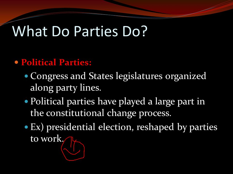 What Do Parties Do Political Parties: Congress and States legislatures organized along party lines.