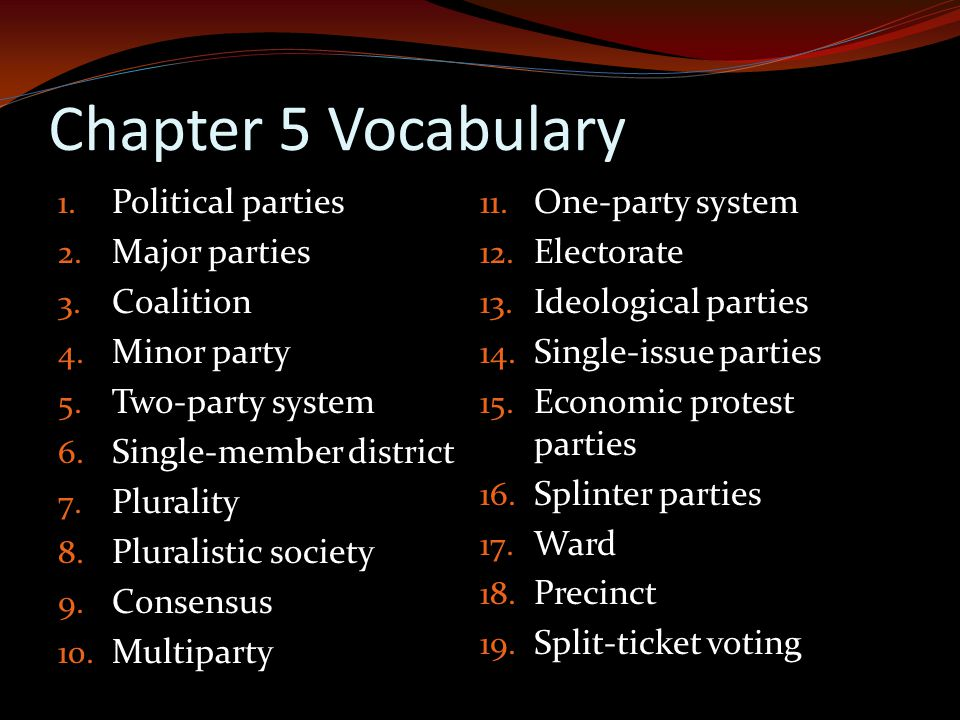 Chapter 5 Vocabulary Political parties One-party system Major parties