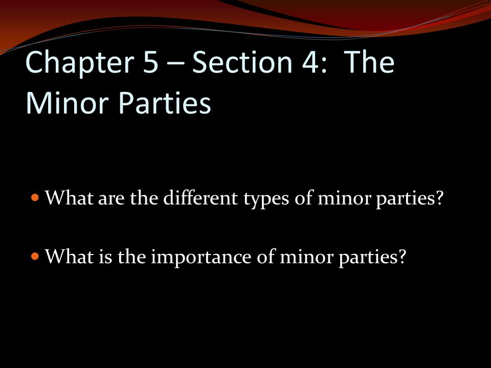 Chapter 5 – Section 4: The Minor Parties