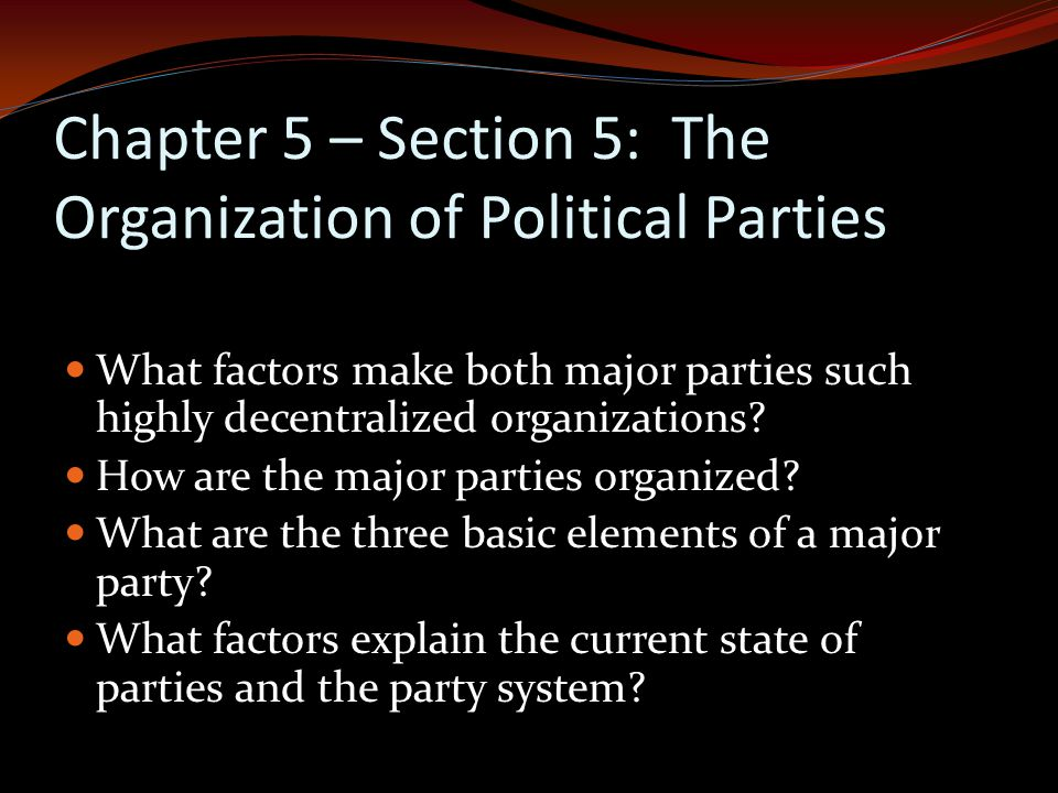 Chapter 5 – Section 5: The Organization of Political Parties