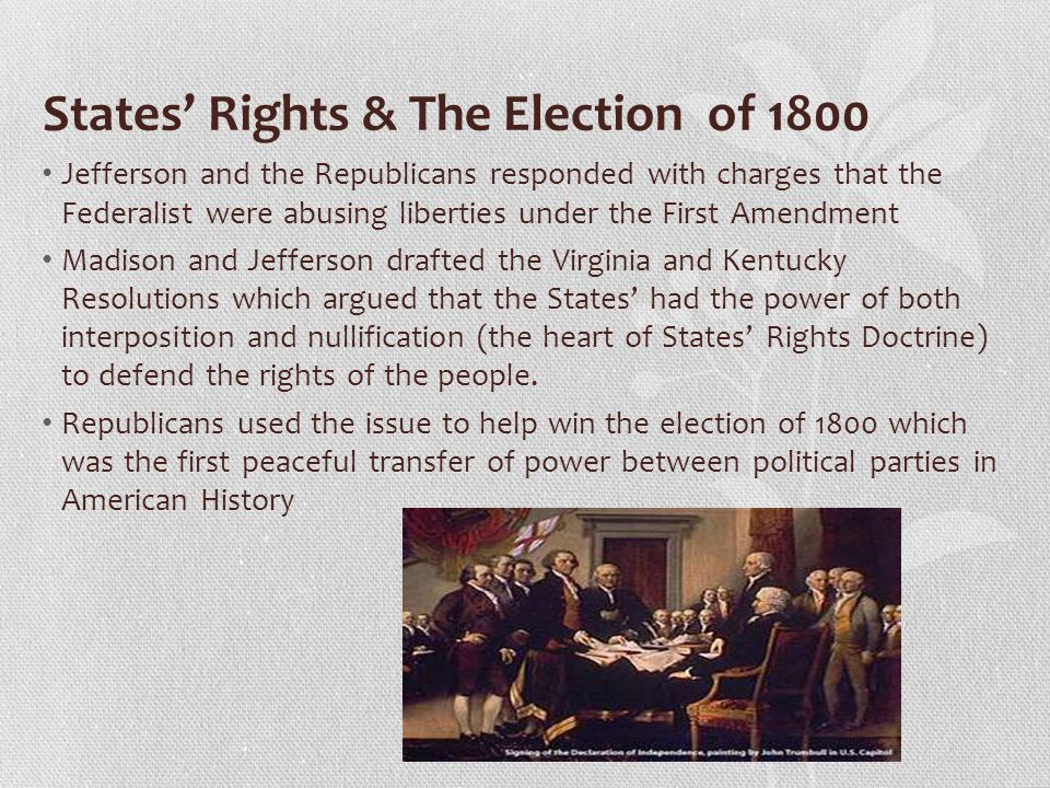 States' Rights & The Election of 1800