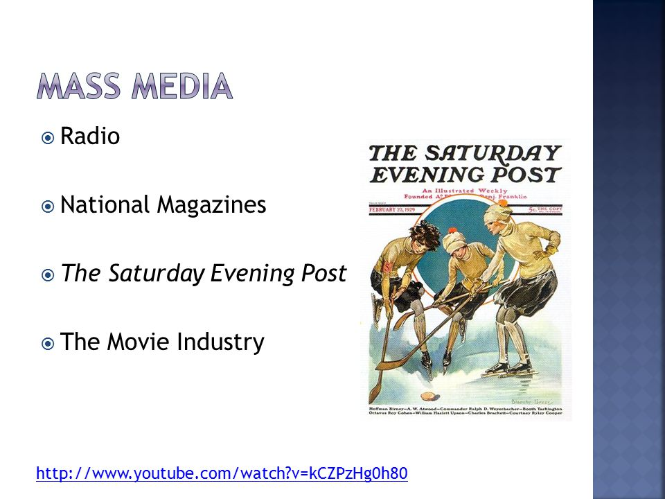 Mass Media Radio National Magazines The Saturday Evening Post