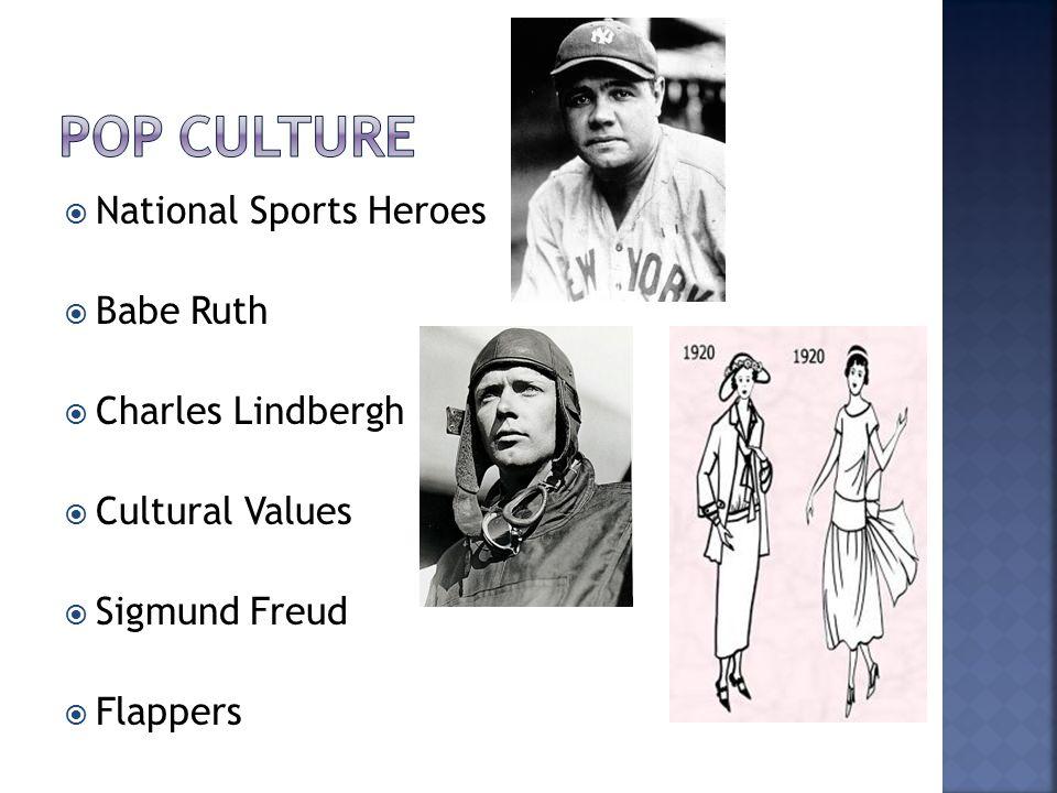 Pop culture National Sports Heroes Babe Ruth Charles Lindbergh