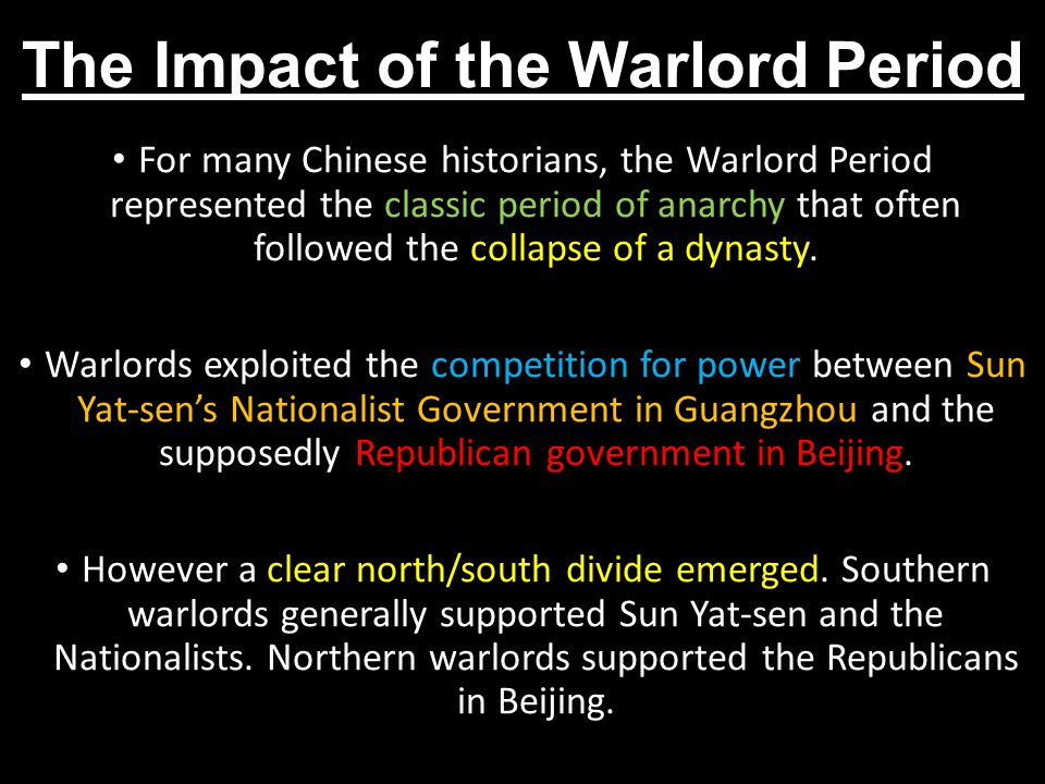 The Impact of the Warlord Period