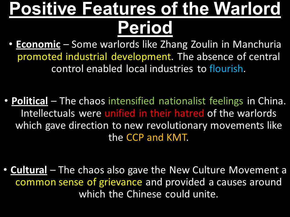 Positive Features of the Warlord Period
