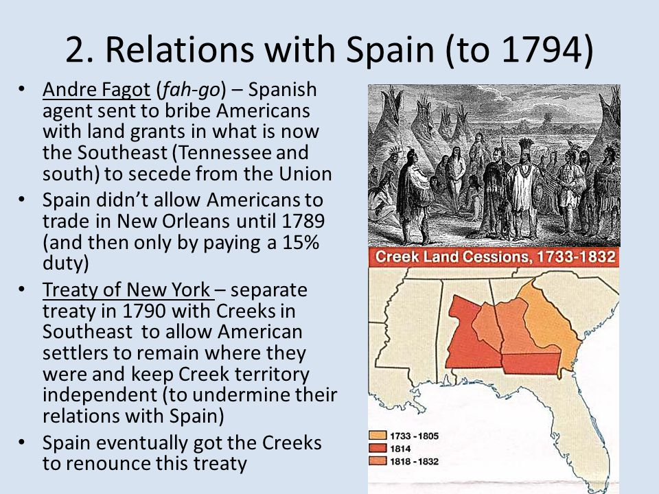 2. Relations with Spain (to 1794)