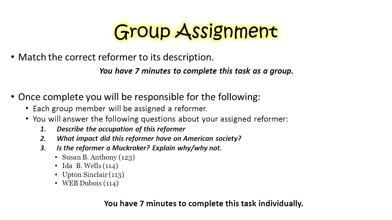Group Assignment Match the correct reformer to its description.