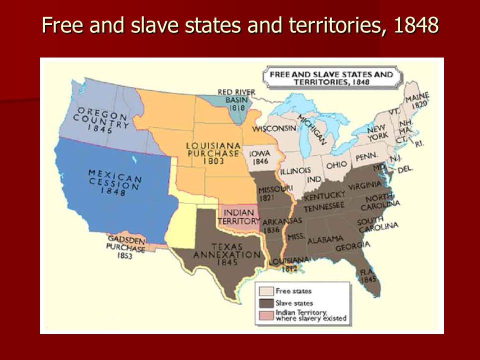 Free and slave states and territories, 1848