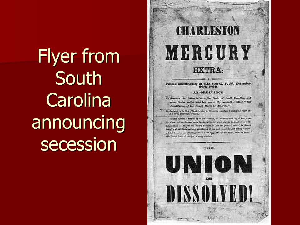 Flyer from South Carolina announcing secession