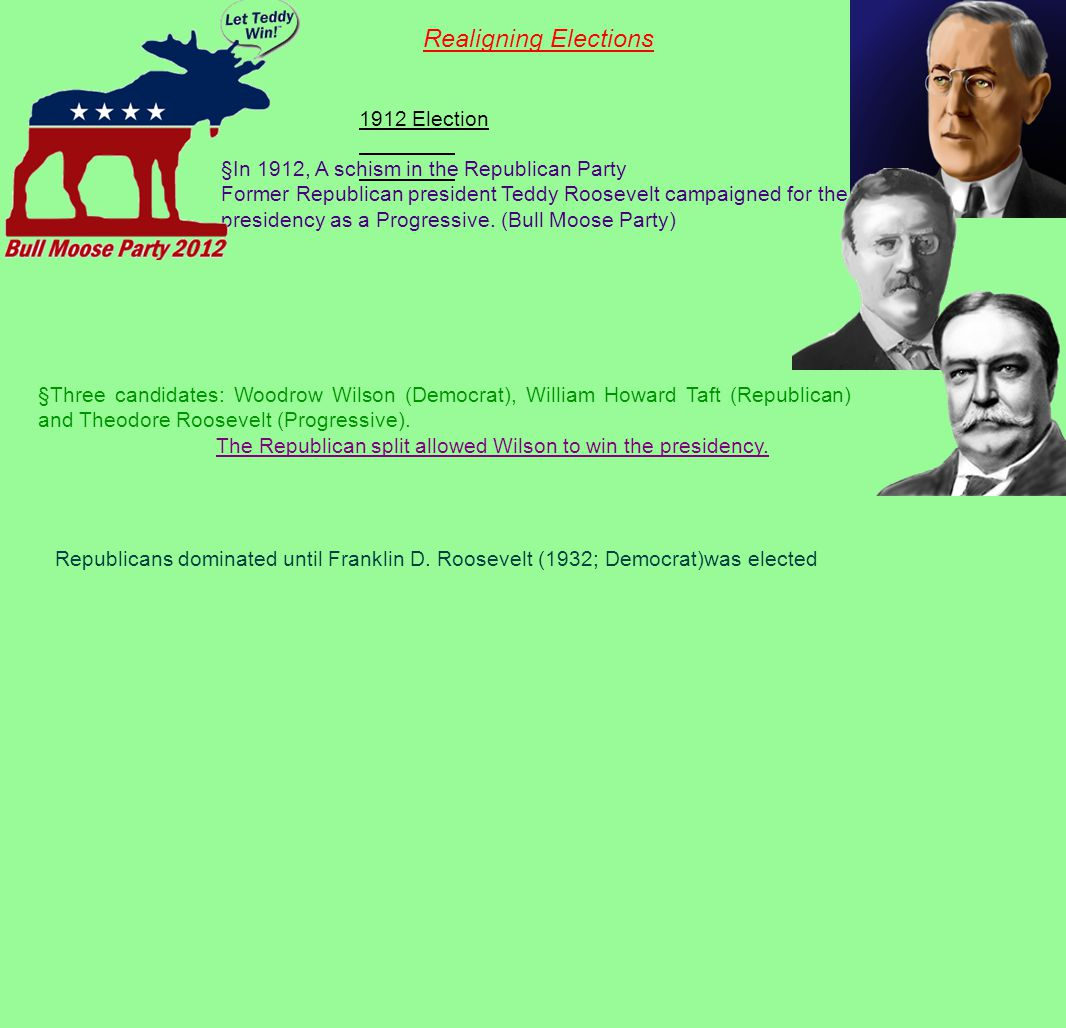 The Republican split allowed Wilson to win the presidency.