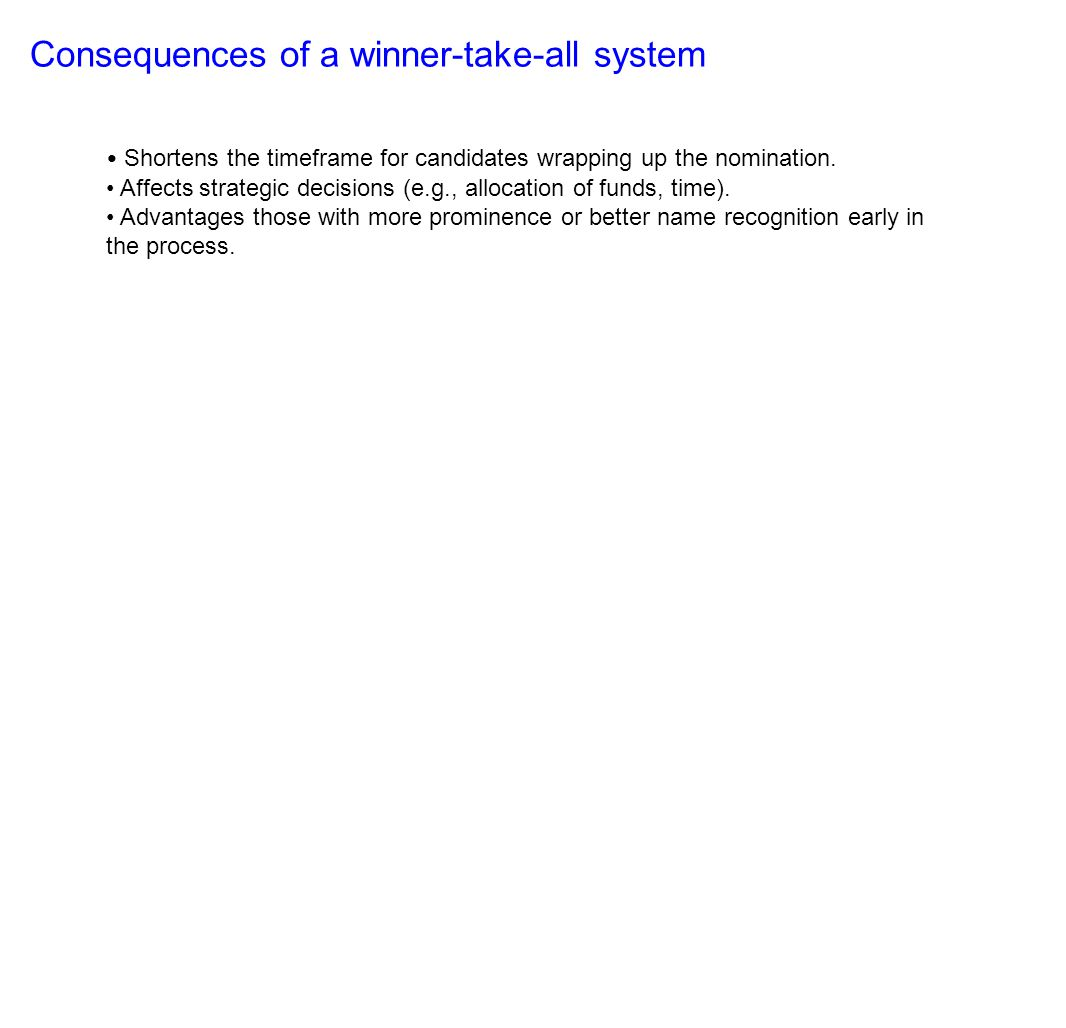 Consequences of a winner-take-all system