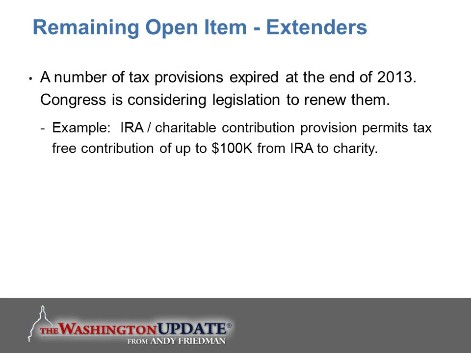 Remaining Open Item - Extenders