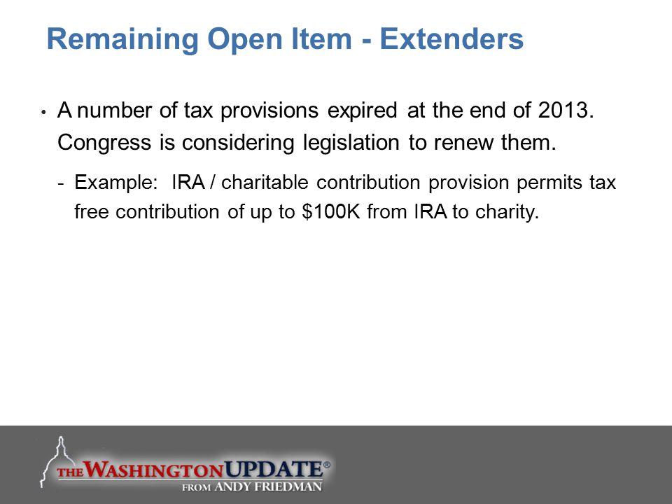 Remaining Open Item - Extenders