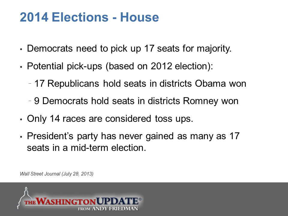 2014 Elections - House Democrats need to pick up 17 seats for majority. Potential pick-ups (based on 2012 election):