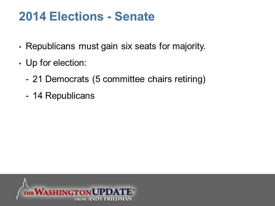 2014 Elections - Senate Republicans must gain six seats for majority.
