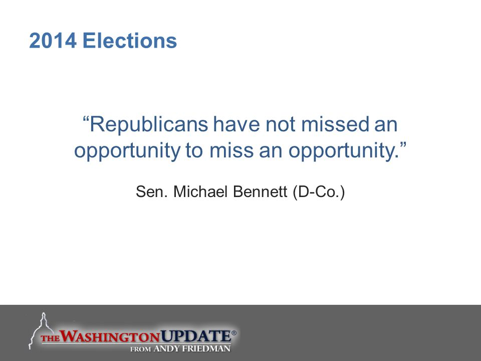 Republicans have not missed an opportunity to miss an opportunity.