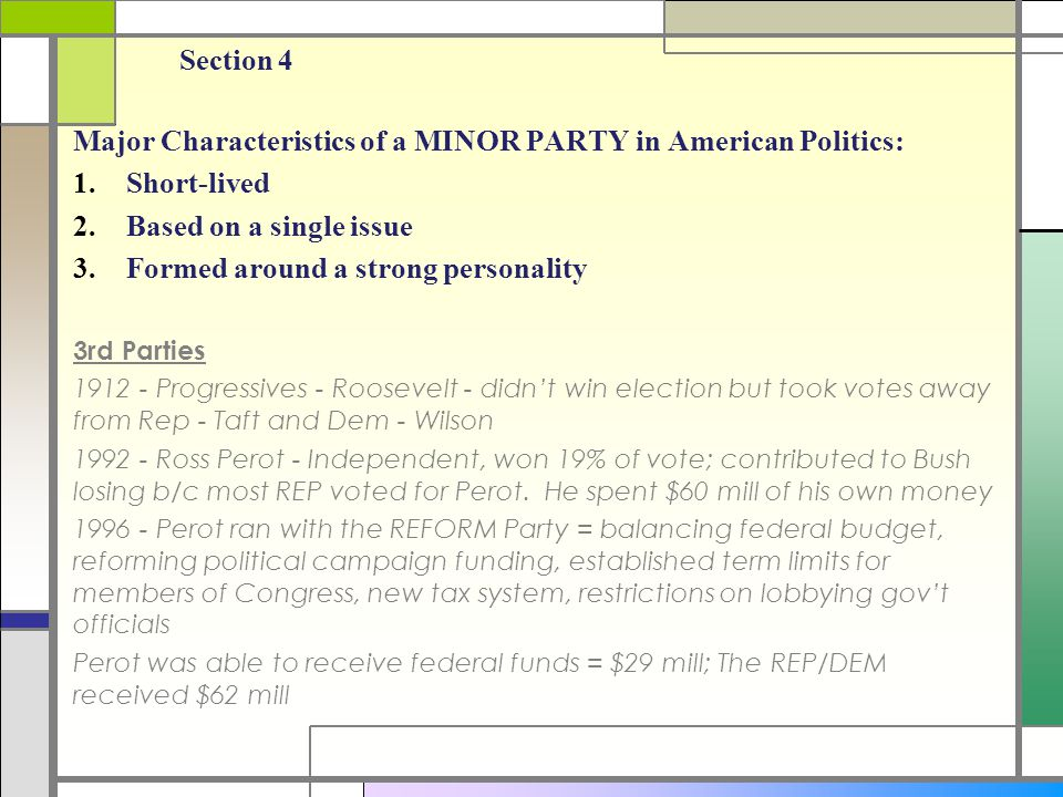 Major Characteristics of a MINOR PARTY in American Politics: