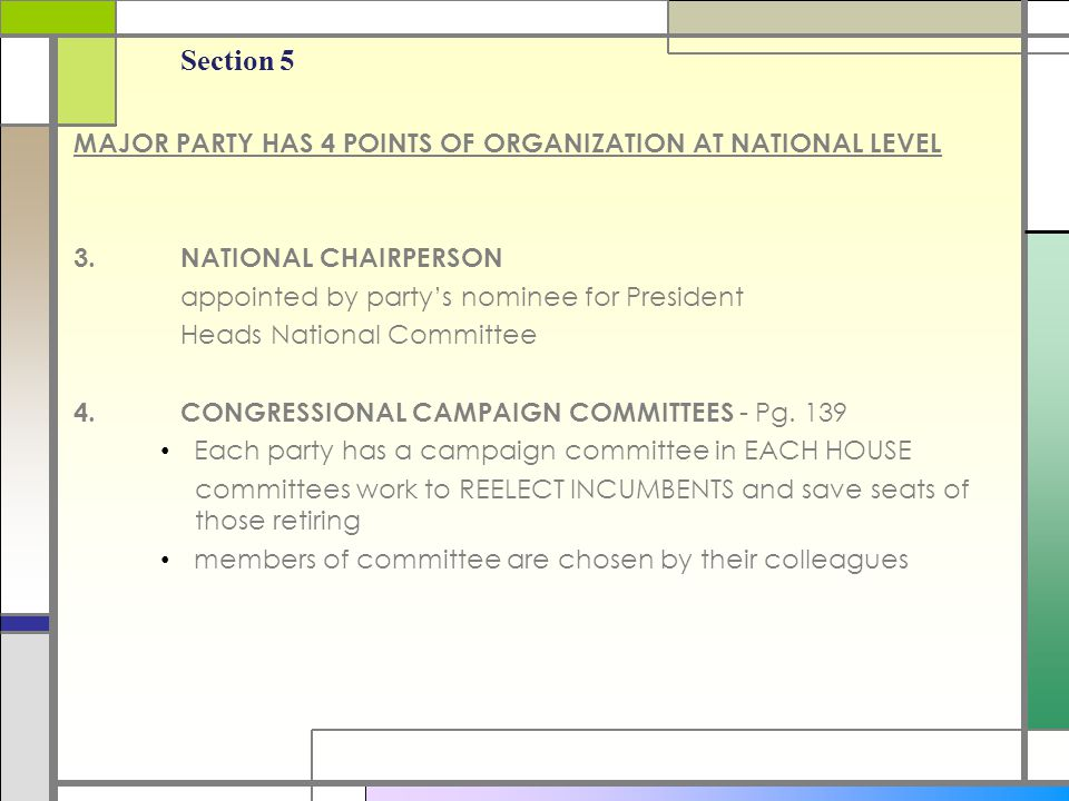Section 5 MAJOR PARTY HAS 4 POINTS OF ORGANIZATION AT NATIONAL LEVEL